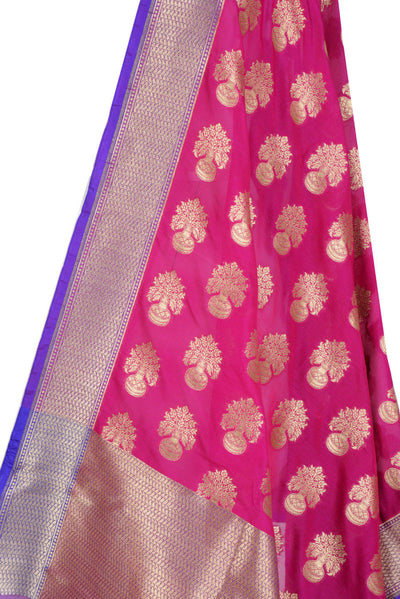 Pink Banarasi Dupatta with flower inside vase motifs (2) Close up