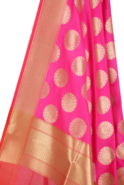 Pink Banarasi Dupatta with mandala motifs (2) Close up