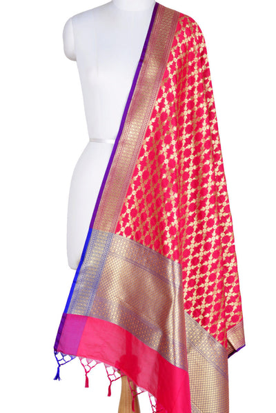 Pink Banarasi Dupatta with sharp flower and leaf jaal (1) Main