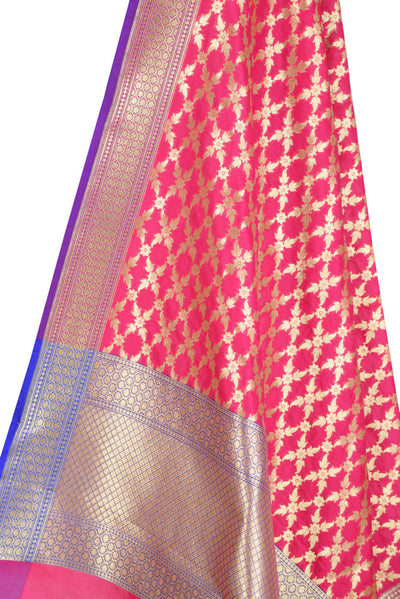 Pink Banarasi Dupatta with sharp flower and leaf jaal (2) Close up