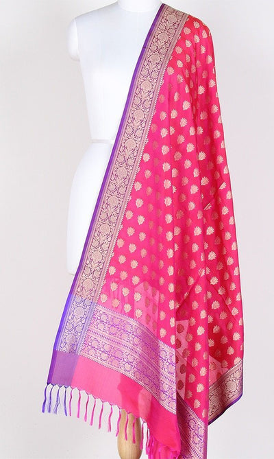 Pink Banarasi Silk Dupatta with mini lotus motifs PCPBD03S20 (1) Main