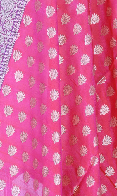Pink Banarasi Silk Dupatta with mini lotus motifs PCPBD03S20 (2) Close up