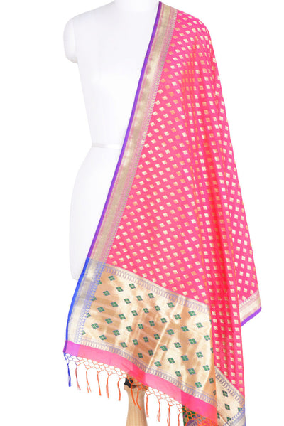 Pink Banarasi Silk Dupatta with stylized motifs and zari work (1) Main