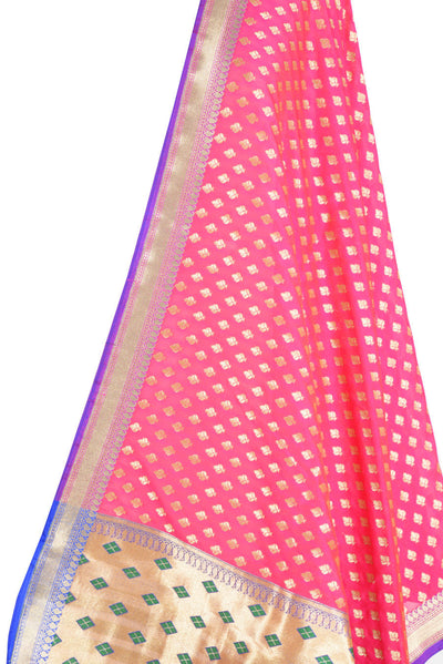 Pink Banarasi Silk Dupatta with stylized motifs and zari work (2) Close up