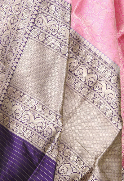 Pink Katan silk handwoven Banarasi dupatta with tanchoi paisley jaal (2) Close up