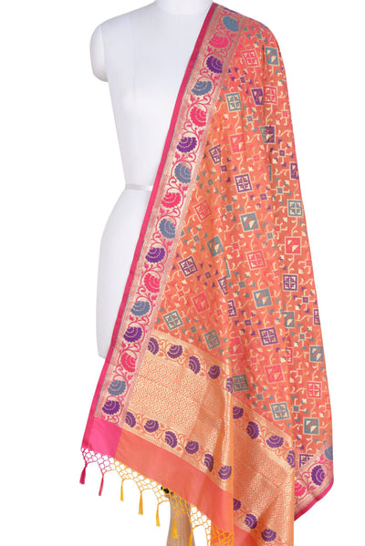 Peach Banarasi Dupatta with Rajkoti pattern and paithani border (10001771550003RD359) (HSN Code -6214)