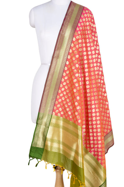 Pink Orange Banarasi Dupatta with fiery circle motifs (1) Main