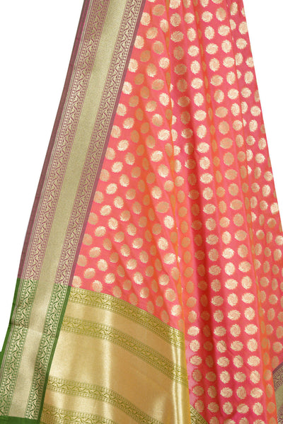 Pink Orange Banarasi Dupatta with fiery circle motifs (2) Close up