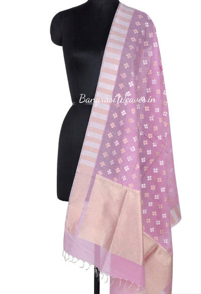 Pink Silk Cotton Banarasi Dupatta with patterned dots motifs and dual color zari (1) Main