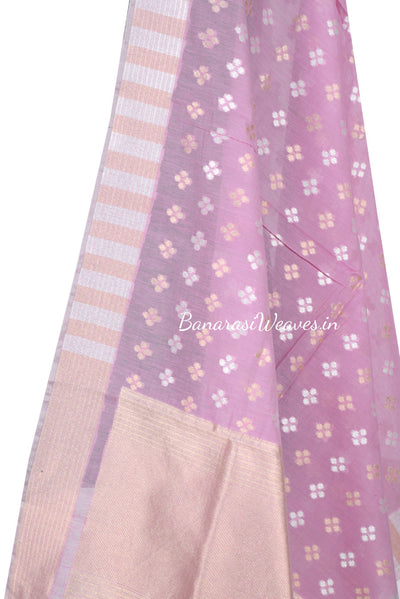 Pink Silk Cotton Banarasi Dupatta with patterned dots motifs and dual color zari (2) Close up