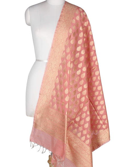 Pink Silk Cotton Banarasi Dupatta with stylized booti