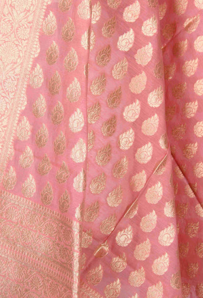 Pink Silk Cotton Banarasi Dupatta with stylized booti (2) Close up