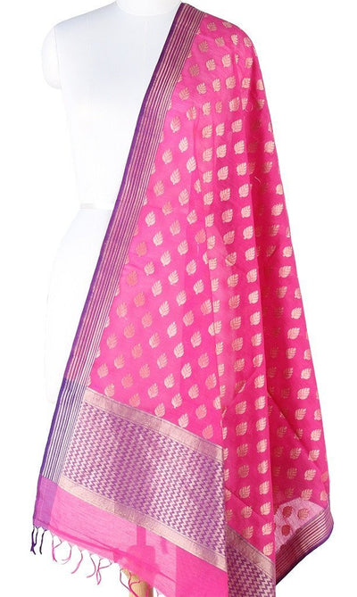 Pink Silk cotton Banarasi Dupatta with leaf motifs and zari work (PCPBD03SC04) (1) Main