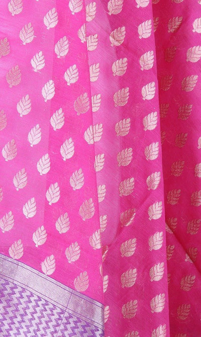 Pink Silk cotton Banarasi Dupatta with leaf motifs and zari work (PCPBD03SC04) (2) Cloe up