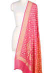 Pink and orange shaded Khaddi Georgette Banarasi dupatta with floral motifs