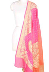 Pink and orange shaded Khaddi Georgette Banarasi dupatta with moti dana motifs
