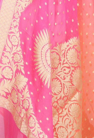 Pink and orange shaded Khaddi Georgette Banarasi dupatta with moti dana motifs (2) Close up