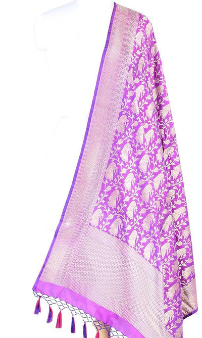 Purple Katan Silk Banarasi dupatta with Baluchari motifs (PCRVD04B06) (1) Main