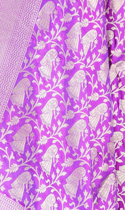 Purple Katan Silk Banarasi dupatta with Baluchari motifs (PCRVD04B06) (2) Close up