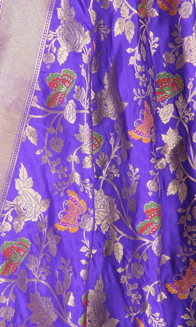 Purple Katan Silk Hanwoven Banarasi Dupatta with flower and butterfly jaal PCRVDKS03BY04 (2) Close up
