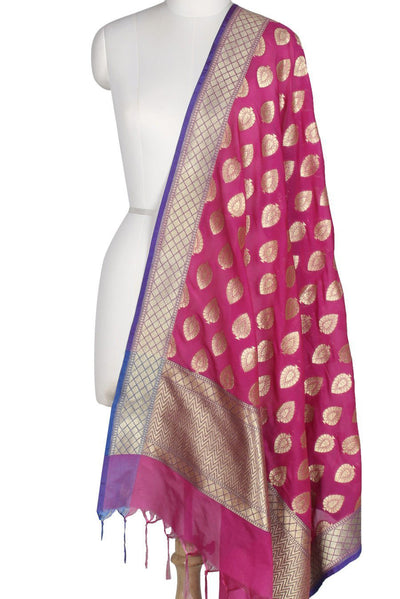 Rani Pink Art Silk Banarasi Dupatta with leaf motifs in gold