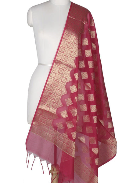 Rani Pink Art Silk Cotton Banarasi Dupatta with diamond shape motifs