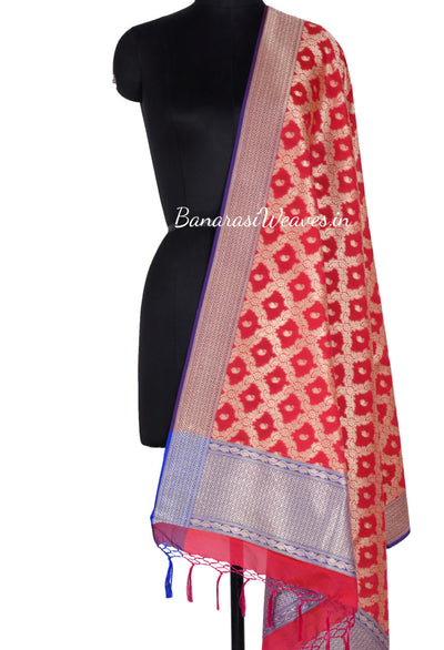 Red Art Silk Banarasi Dupatta with floral jaal and paisley motifs (1) Main
