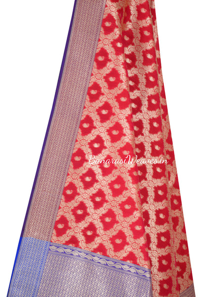 Red Art Silk Banarasi Dupatta with floral jaal and paisley motifs (2) Close up