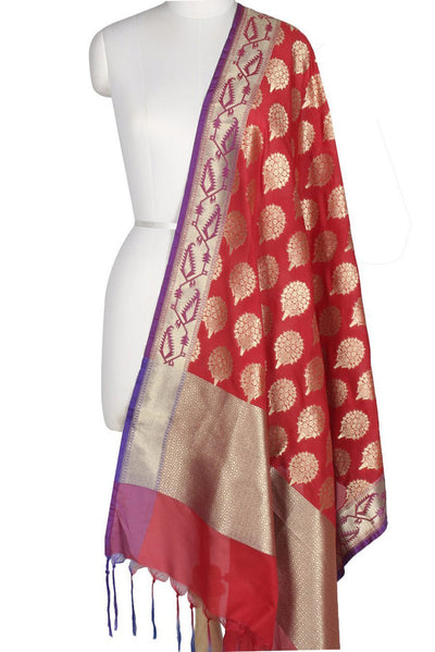 Red Art Silk Banarasi Dupatta with flower bouquet motifs