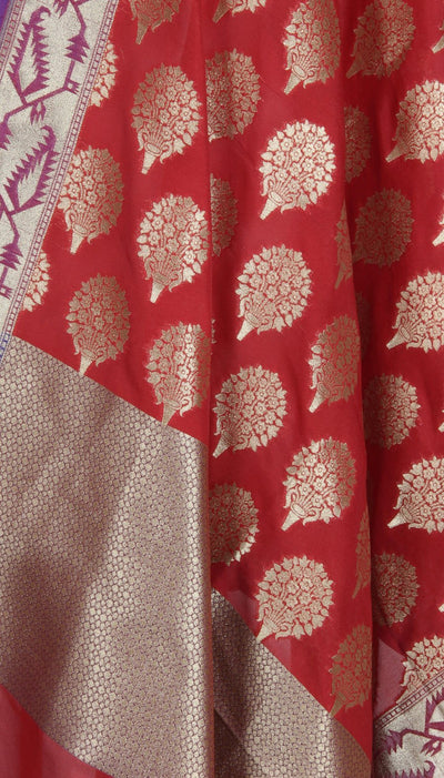 Red Art Silk Banarasi Dupatta with flower bouquet motif  (2) Close up