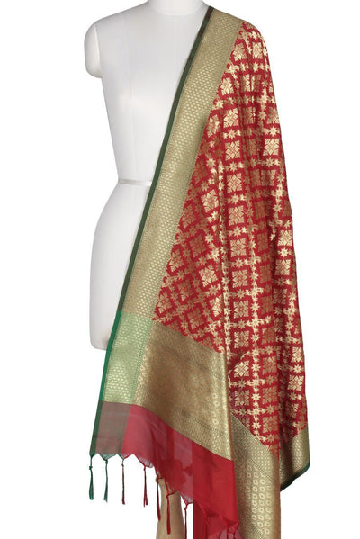 Red Art Silk Banarasi Dupatta with geometrical floral jaal and motifs