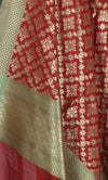 Red Art Silk Banarasi Dupatta with geometrical floral jaal and motifs (2) Close up