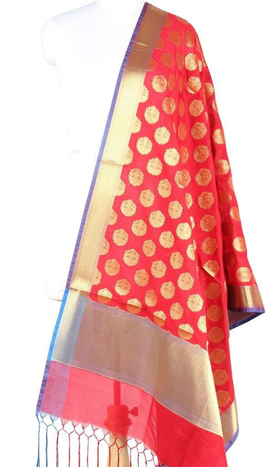 Red Art Silk Banarasi Dupatta with stylized circular motifs (PCRVD04F18) (1) Main