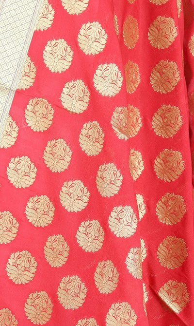 Red Art Silk Banarasi Dupatta with stylized circular motifs (PCRVD04F18) (2) Close up