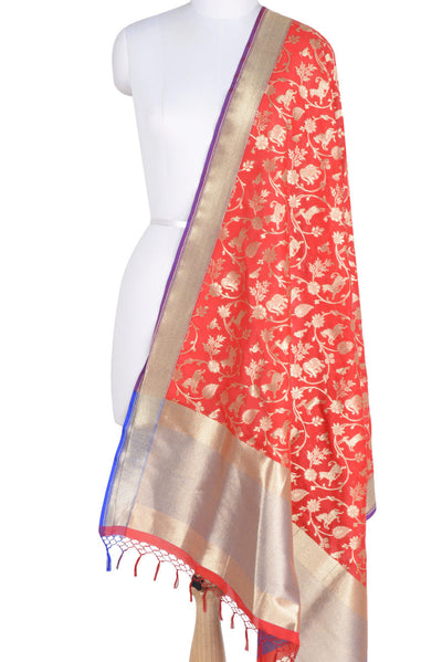 Red Banarasi Dupatta with Shikargah jaal (1) Main