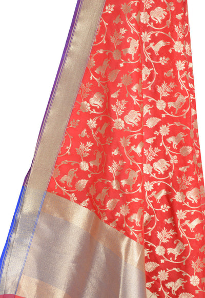 Red Banarasi Dupatta with Shikargah jaal (2) Close up