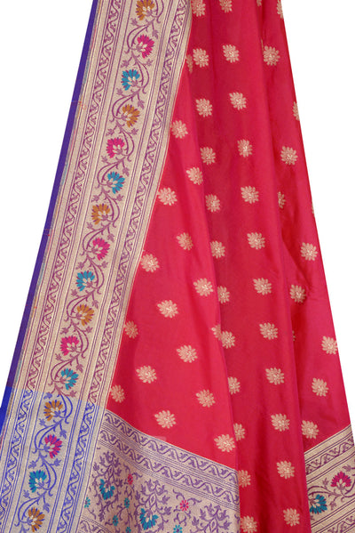 Red Banarasi Dupatta with multi color border with leaf motif (2) Close up