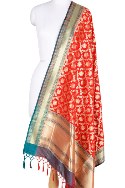 Red Banarasi Dupatta with ornamental flower and leaf jaal (1) Main