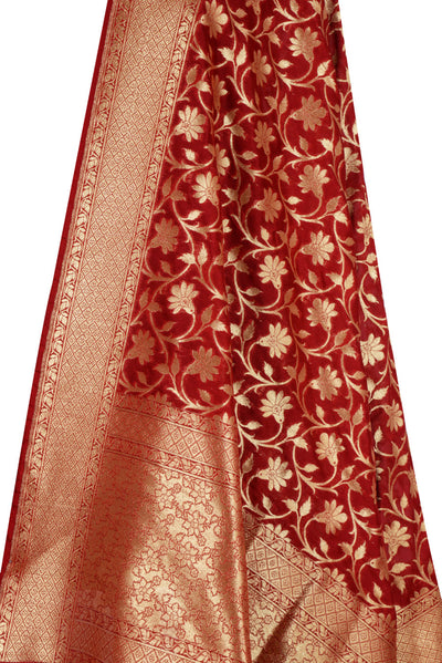 Red Banarasi Dupatta with tulip flower jaal (2) Close up