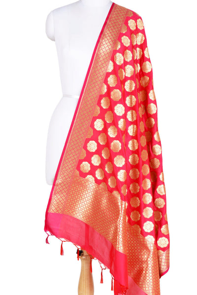 Red Banarasi Dupatta with wheel of flower motifs (1) Main
