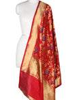 Red Katan Silk Banarasi Dupatta with butterfly jaal in yellow meena