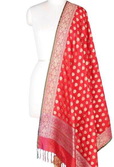 Red Katan Silk Banarasi Dupatta with lotus motifs