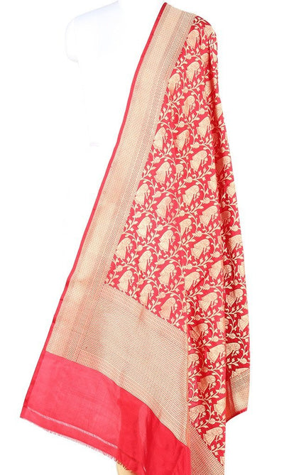 Red Katan Silk Banarasi dupatta with Baluchari motifs (PCRVD04B10) (1) Main