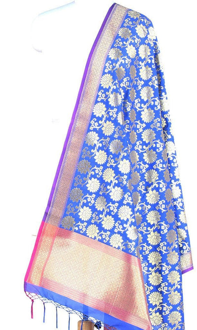 Royal Blue Art Silk Banarasi Dupatta with sunflower motifs (PCRVDAS08) (1) Main