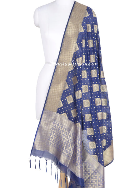 Royal Blue Banarasi dupatta with square patterned motifs (1) Main