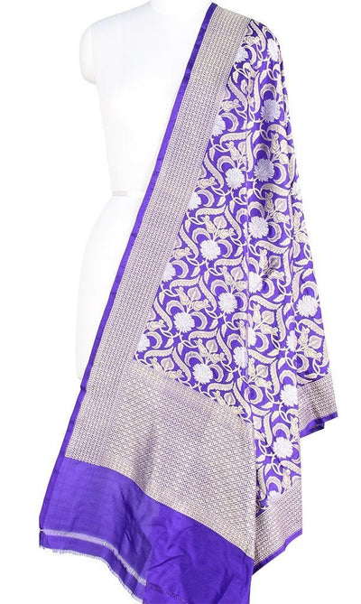 Royal Blue Katan Silk Banarasi Dupatta with stylized jaal and zari work PCRVD01B02 (1) Main