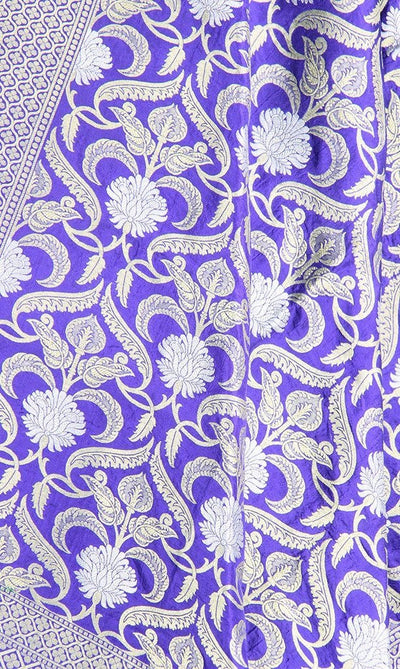 Royal Blue Katan Silk Banarasi Dupatta with stylized jaal and zari work PCRVD01B02 (2) Close up