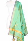 Sea green Katan silk handwoven Banarasi dupatta with bird motifs