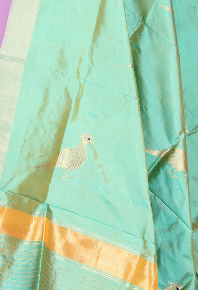 Sea green Katan silk handwoven Banarasi dupatta with bird motifs (2) Close up