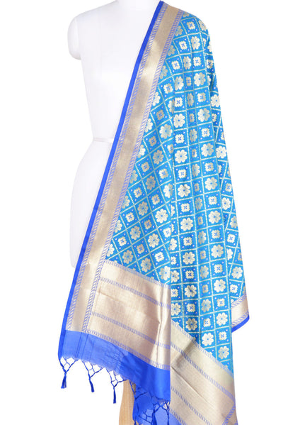 Sky Blue Art Silk Banarasi dupatta with leaf jaal (1) Main